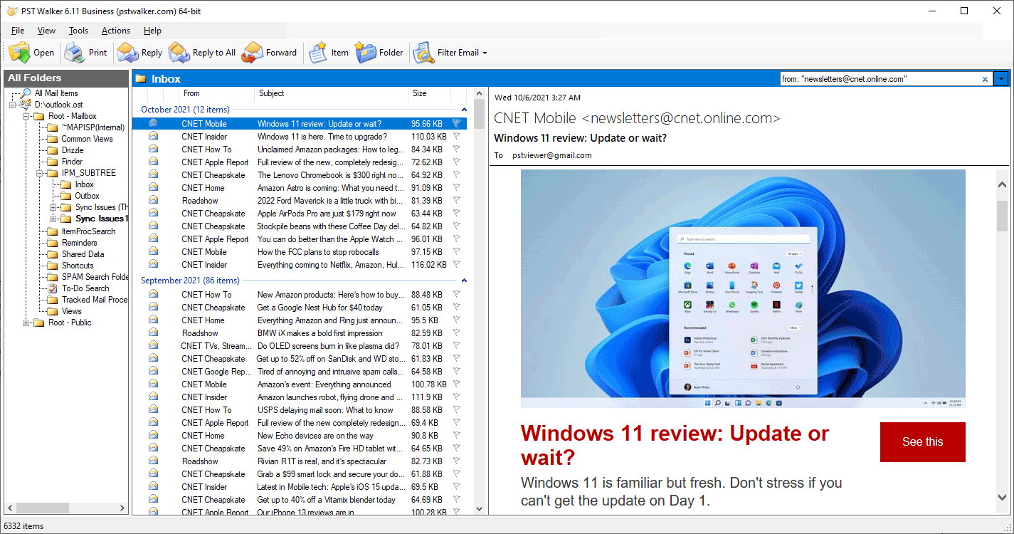 PST Viewer Emails ListView